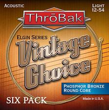 6 Pack ThroBak Vintage Choice Phosphor Bronze Acoustic Guitar Strings LT. 12-54
