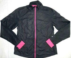 Womens Jacket CHAMPION size LARGE pink black athletic full zip running (ba15)