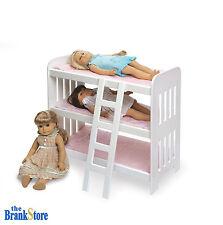 Doll Bunk Bed Triple American Girl Dolls 18 Inch Furniture Ladder Padded Bedding