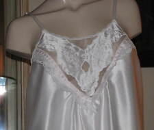 TTO65 - Gilligan & O'Malley Nightgown - MEDIUM - White Satin Gown Brushed Back M