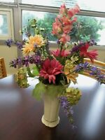 "Lenox 10"" Ivory Porcelain Vase with Silk Flowers"