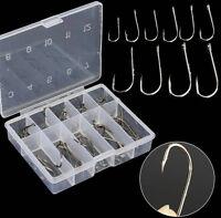 50Pcs Perforated Hooks Box Assorted Fishing Sharpened Hook Lure Tackle Bait