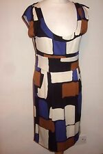 DIANE VON FURSTENBERG 12 Medium 100% Silk Jersey Dress Brown Cream Blue Knee