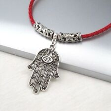Silver Alloy Hamsa Khamsa Hand Eye Pendant Braided Red Leather Choker Necklace