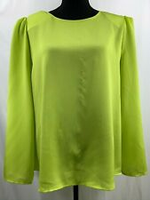 Vince Camuto Satin Shoulder Pad Blouse In Lime Chrome Size XLarge