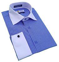 Labiyeur Slim Fit French Cuff Spread Collar Blue/White Striped Dress Shirt