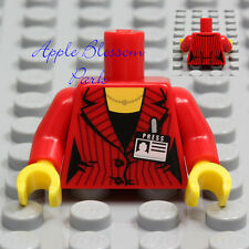 NEW Lego Female MINIFIG TORSO - Red Girl Suit Newspaper Press Reporter ID Badge