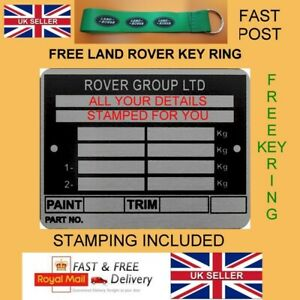ROVER GROUP AUSTIN MORRIS BL CARS MINI BLANK-VIN-CHASSIS-PLATES STAMPED FOR YOU