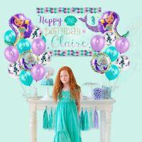 19pc Mermaid Fantasy Kids Birthday Party Supplies Balloons Set Decoration Girl