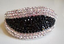 Dressy Silver Finish Lips Shape Rhinestone Party Wear Lady's Fashion Bracelet