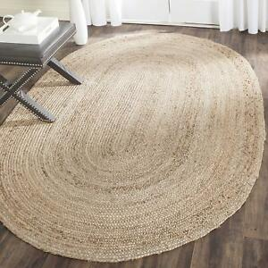 Natural Jute Braided Oval Area Rag Rug Hand Knotted Fabric Rug 3x5 Feet