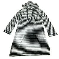 J Crew Womens Black White Striped Long Sleeve Hooded Shirt Size Small