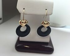 New 14K Yellow Gold Black Onyx Dangling  Heart Earrings