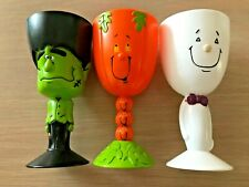 """Set of 3 Cute Plastic Halloween Goblets Cups, 7"""" tall"""