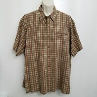LL Bean Mens Button Up Short Sleeve Seersucker Shirt XXL Vintage Brown Plaid