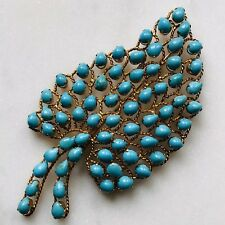 14K Yellow Gold Turquoise Cabochon Twisted Rope HUGE Leaf Vintage Brooch Pin