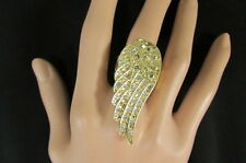 New Women Gold Ring Metal Elastic Band Fashion Casual Angle Wing Bird Rhinestone