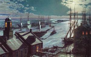 John Stobart Print - Savannah: A Moonlight Departure, Viewed from Factor's Walk