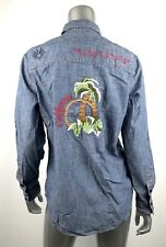 Lucky Brand Womens Shirt M Denim Western Chambray Embroidered California New