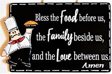 Fat Chef Bless Food Family Love Kitchen Blessing Prayer Sign Wall Bistro Plaque