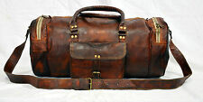 vintage leather messenger brown goat hide luggage travel bag genuine briefcase