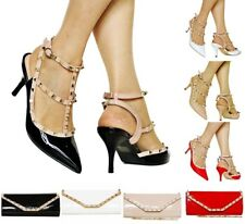 Women Ladies Party Studded Patent Low Mid Heel Court Shoes Pumps Sandals E-46