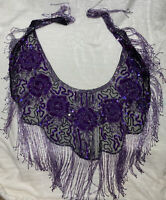Jc Earth Beaded Waist Belt Belly Dancer Hip Scarf Purple Skirt Sequins Drag Show
