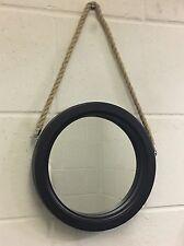 NUOVO NAUTICA Nero Rustico in legno oblò corda tondo Specchio Parete bagno regalo