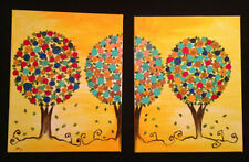 set of 2 ORIGINAL MODERN PAINTING Abstract Wall ART Contemporary canvas signed