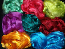 Mulberry Silk Tops 20g Mixed Colour Pack of 4 Slivers Felt Spin Textile Fibre