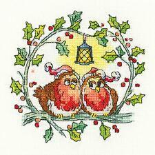 Heritage Crafts Cross Stitch Kit - Christmas Robins (Aida)