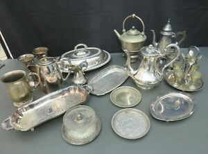 Job lot of vintage silver plated items - coffee pots tureen kettle jugs etc