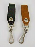"""Vintage Leather Belt Loop Key Chain marked """"Japan"""" Steampunk 1 Black 1 Brown"""