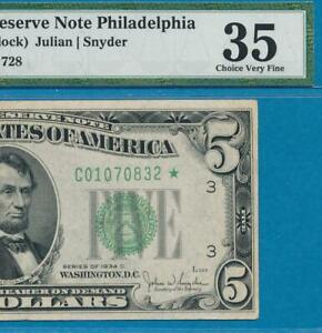 $5.00 1934-C WIDE STAR PHILADELPHIA GREEN SEAL FEDERAL RESERVE NOTE PMG VF35