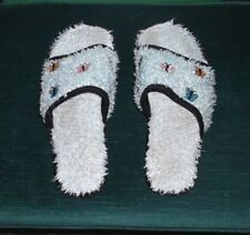 FUZZY AQUA EMBROIDERED BUTTERFLY SLIPPERS SLIDES MISSES SIZE 11 WIDE - XTRA WIDE