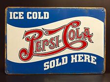 PEPSI COLA Sold Here METAL SIGN vtg Retro Ice Cold Art Diner Wall Decor 16x12 cm