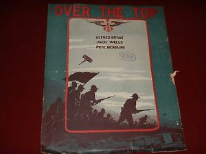 """1917 vintage WWI sheet music """"OVER THE TOP"""" World War One + Paddle Addle - Back"""