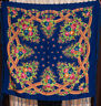 Russian shawl. Floral blue chale russe. Chic Fringed Scarf foulard russe Mantón