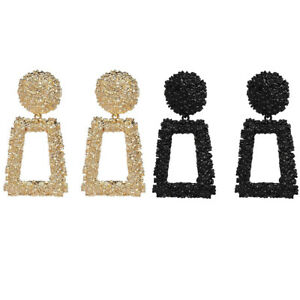 Fashion Square Large Geometric Earrings Gold Silver Black Metal Dangle Trendy UK