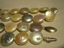 """AMAZING VINTAGE 14K GOLD GENUINE AAA QUALITY COIN Pearl 18"""" Necklace ESTATE RARE"""