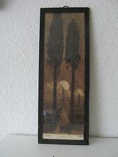 Altes Bild Zypresse Zypressen Jugendstil Radierung hinter Glas  F. Koch