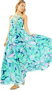 Lilly Pulitzer Lannette High Tide Navy Dancing Lady Gold Beads Maxi Dress 2 $368