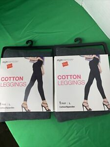 2 Pack Hanes Style Essentials Cotton Leggings Marble Heather Gray 1 Pair Sz L