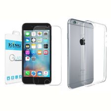 """iPhone 6/6S 4.7"""" Soft TPU Clear Case Transparent + iPhone 6/6S Temepered Glass"""