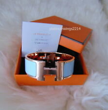NIB Authentic Hermes Wide H Clic Clac Glacier Blue Enamel Rose Gold HW Bangle