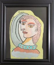 Pablo Picasso Drawing on Vintage Paper Signed RARE
