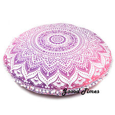 Pink Ombre Home Decorative Floor Pillow Meditation Cushion Cover Mandala Throw