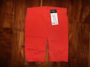 RAFAELLA Hibiscus Coral Red Dressy Shorts Sz 10 $50 NWT Comfort Bermuda Stretch