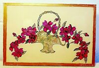 Vintage Hand Painted Reversed Painting on Glass Foil Art Picture Flower Basket