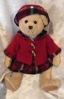 Walmart Christmas Teddy Bear Plush Stuffed Doll Holiday Red Coat Hat Dress